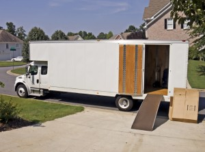 white moving storage truck